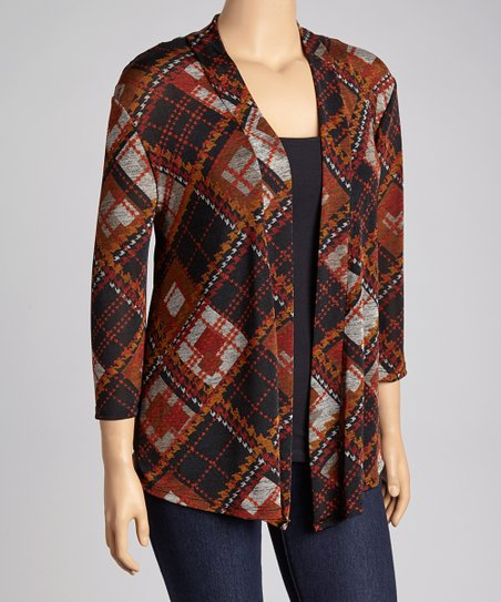 Rust Plaid Crochet-Back Open Cardigan