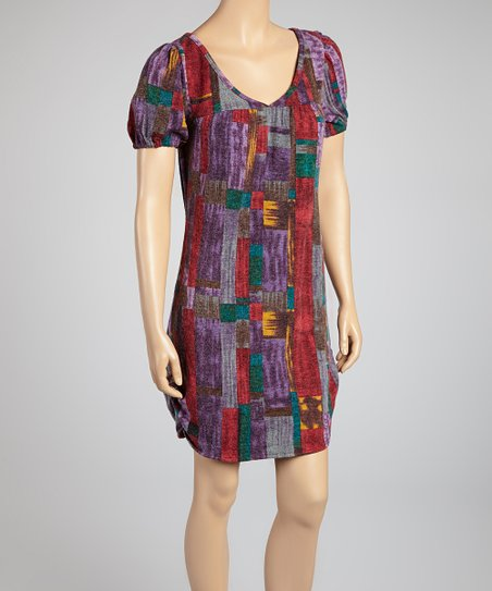 Purple Geometric Shift Dress