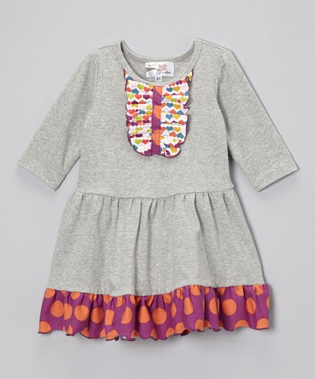 Heather Gray Three-Quarter Sleeve Tuesday Dress - Infant, Toddler & Girls
