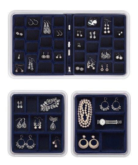 Midnight Blue Jewelry & Earring Drawer Organizer Set
