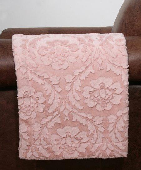 Lotus Pink Damask Throw Blanket