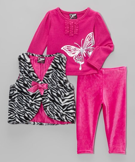 Fuchsia Zebra Faux Fur Vest Set - Infant