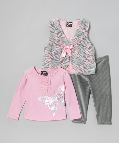 Light Pink Zebra Faux Fur Vest Set - Infant