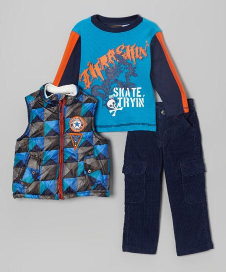 Blue Geometric Puffer Vest Set - Toddler