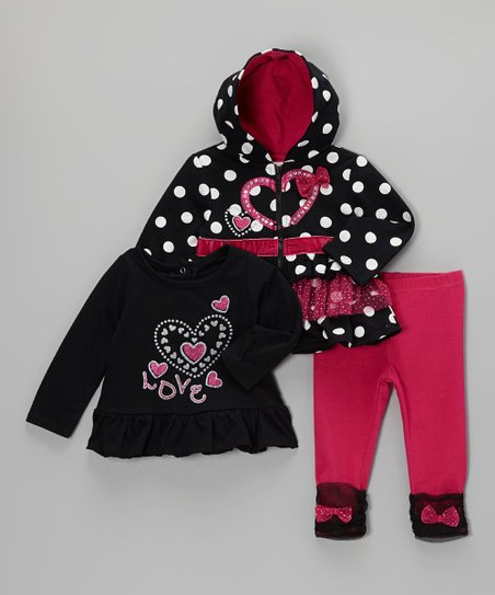 Black & Pink 'Love' Tunic Set - Infant