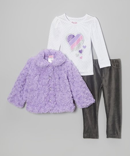 Purple Faux Fur Jacket Set - Infant & Toddler