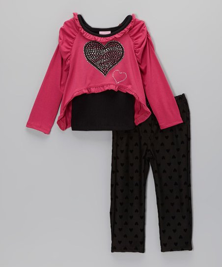 Pink Rhinestone Heart Tee Set - Infant