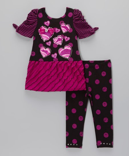 Purple Heart Tunic & Polka Dot Leggings - Toddler