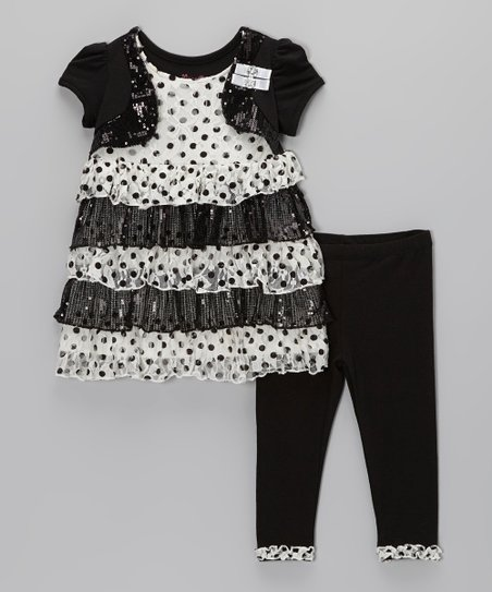 White Polka Dot Tiered Ruffle Tunic Set - Toddler & Girls