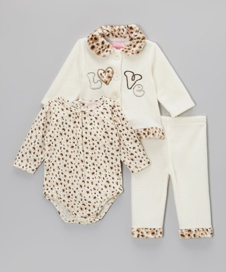 Light Beige 'Love' Leopard Jacket Set - Infant