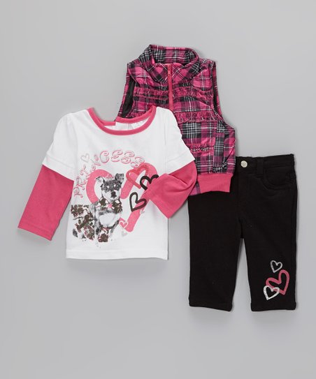 Pink Plaid Puffer Vest Set - Infant