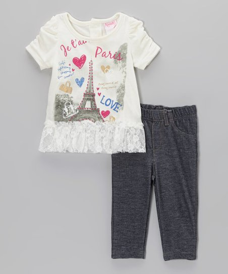 Light Beige 'Paris Love' Top & Pants - Infant
