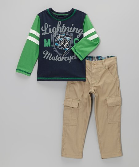 Navy 'Motorcycles' Tee & Cargo Pants - Boys