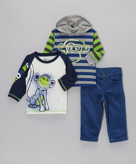 Navy 'Monkey' Raglan Tee Set - Infant