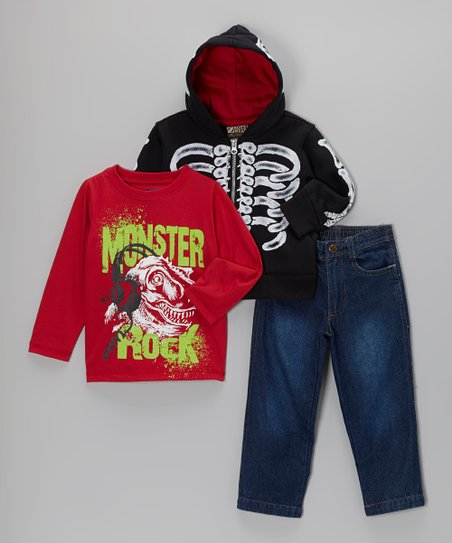 Black Skeleton Zip-Up Hoodie Set - Boys
