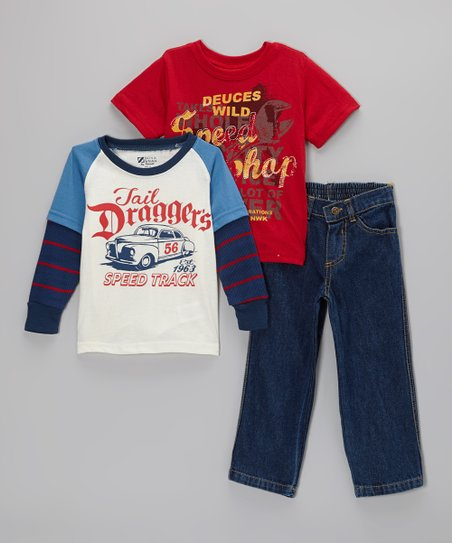 Red 'Deuces Wild' Tee Set - Toddler