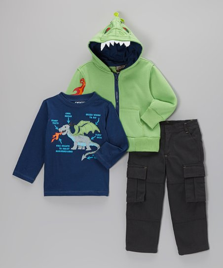 Green Dragon Flame Zip-Up Hoodie Set - Boys