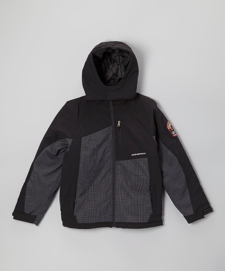 Black & Gray Insulated Soft Shell Jacket - Boys