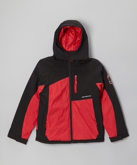 Red & Black Insulated Soft Shell Jacket - Boys