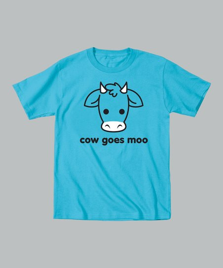 Turquoise 'Cow Goes Moo' Tee - Toddler & Kids