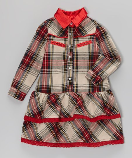 Red Tartan Button-Up Dress - Infant, Toddler & Girls