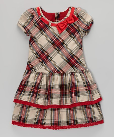 Red Tartan Puff-Sleeve Dress - Infant, Toddler & Girls
