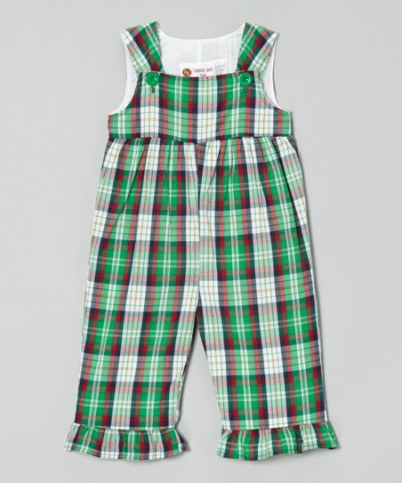 Red & Green Plaid Ruffle Overalls - Infant & Toddler