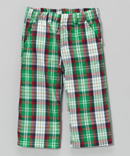 Red & Green Plaid Pants - Boys