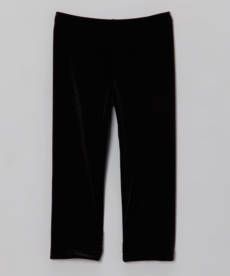 Black Velvet Leggings - Toddler & Girls