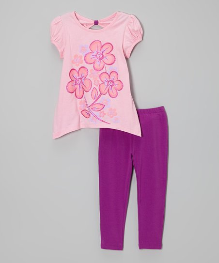 Pink Floral Tunic & Violet Leggings - Infant, Toddler & Girls