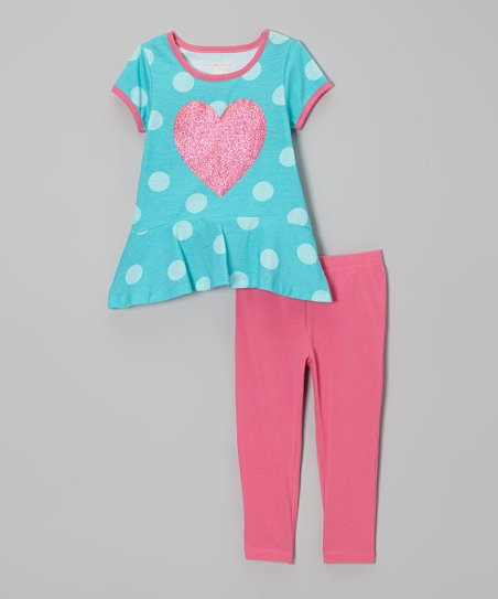 Turquoise Heart Ruffle Tunic & Leggings - Infant, Toddler & Girls
