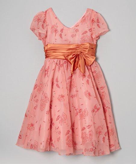 Coral Floral Organza Glitter Dress – Girls