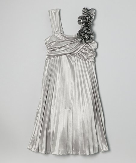 Silver Pleated Party Dress – Girls