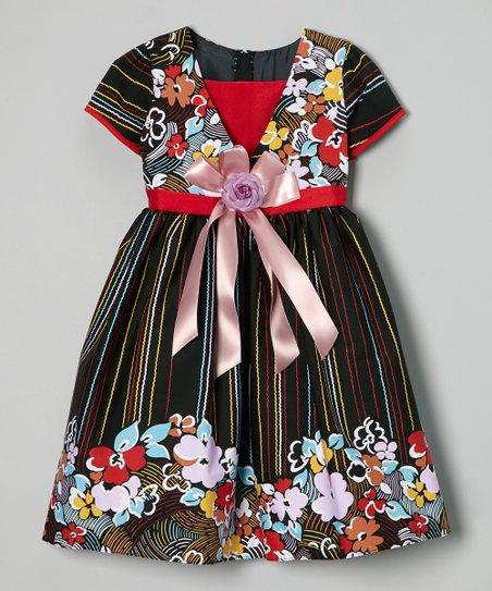 Brown Floral Layered Dress – Girls
