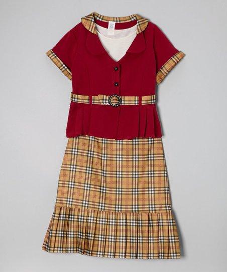 Red Plaid Skirt Set – Girls