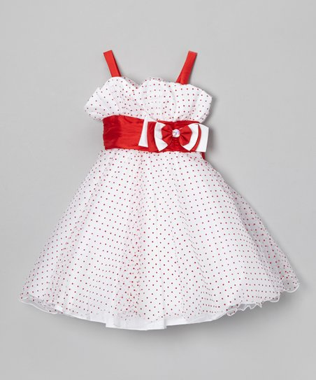 White & Red Polka Dot Dress & Shawl - Infant & Toddler