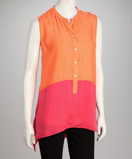 Hanna &amp; Gracie Orange &amp; Pink Color Block Sleeveless Tunic