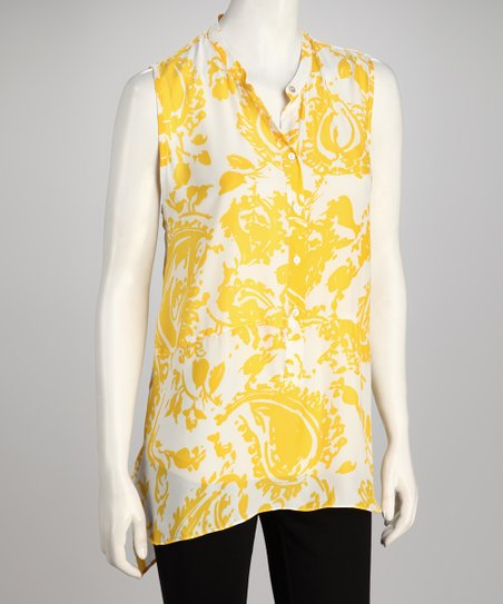 Hanna & Gracie Yellow & White Abstract Sleeveless Tunic