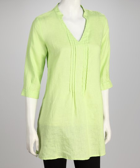Hanna & Gracie Lime Pin-Tuck Tunic