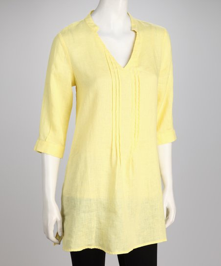 Hanna & Gracie Yellow Pin-Tuck Tunic