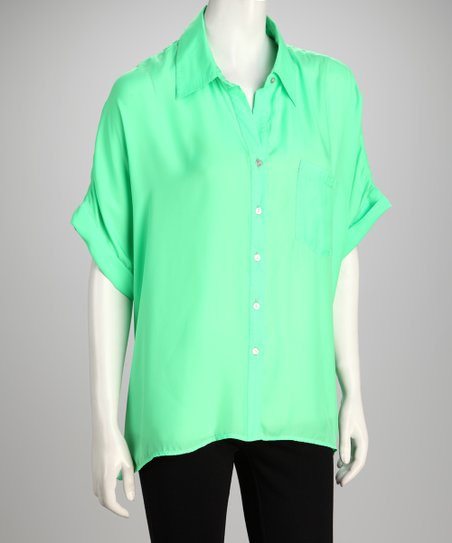 Hanna & Gracie Green Short-Sleeve Button-Up