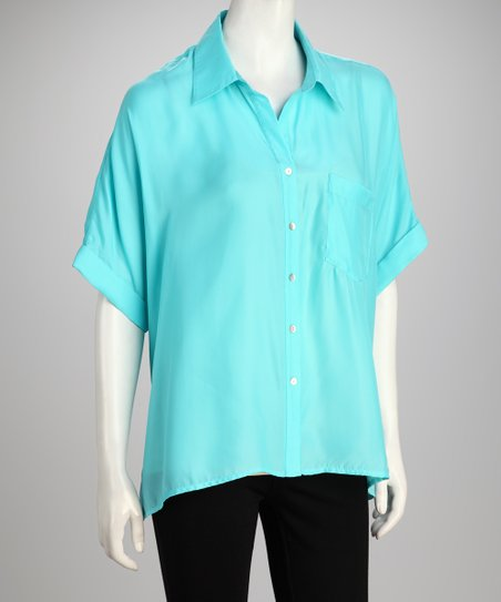 Hanna &amp; Gracie Turquoise Short-Sleeve Button-Up
