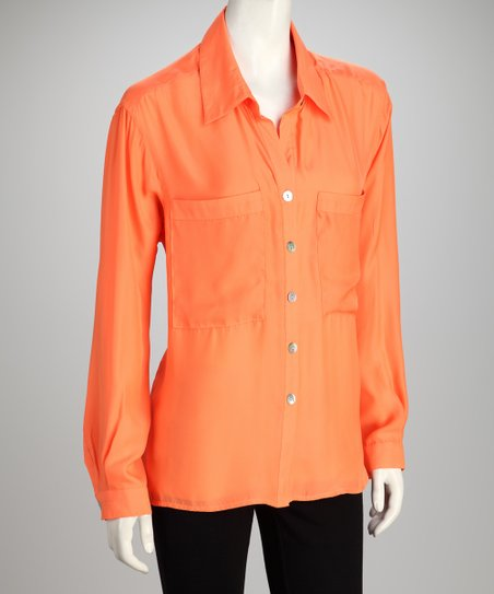 Hanna & Gracie Orange Button-Up