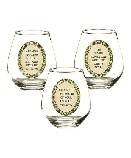 Celtic Tradition Stemless Wine Glass Set