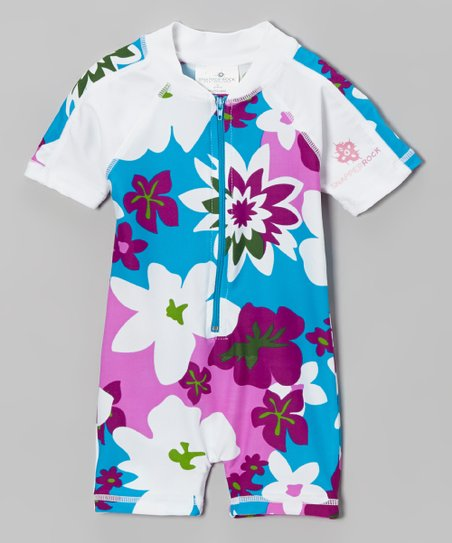 Pink & Blue Tropical Floral One-Piece Rashguard - Infant