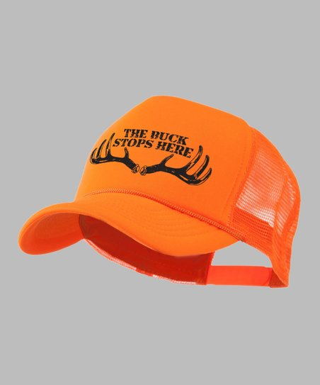 Bright Orange 'The Buck Stops Here' Trucker Hat