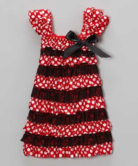 Red Polka Dot Tiered Lace Dress - Infant, Toddler & Girls