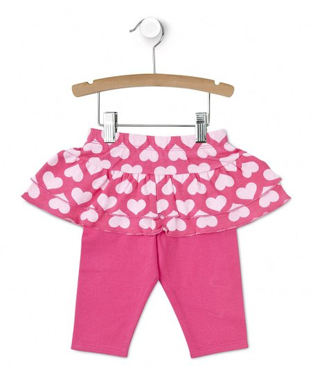 Pink Hearts Ruffle Skirted Leggings