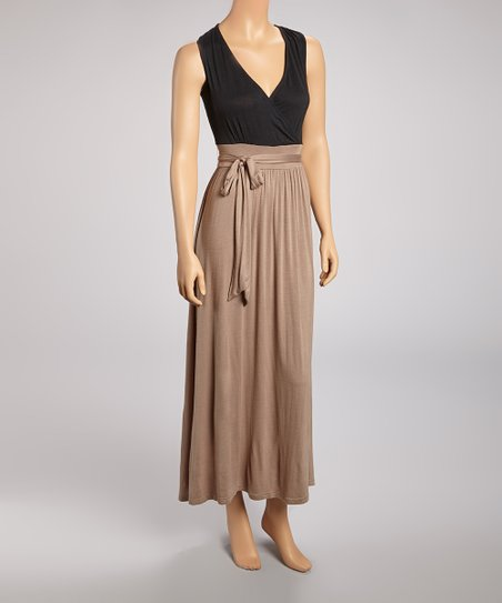 Black & Tan Tie-Waist Maxi Dress