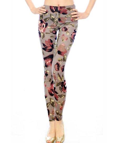 Gray Floral Leggings - Women